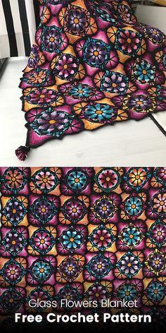 Glass Flowers Blanket Free Crochet Pattern #crochet #crafts #style #homedecor #handmade #blanket