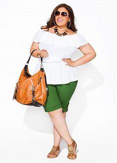 Off-the-shoulder Ruffle Peasant Top & Poplin Bermuda Shorts - Ashley Stewart Ashley Stewart, Plus Size Summer Outfit, Plus Size Outfits, Curvy Girl Fashion, Plus Fashion, Womens Fashion, Looks Style, My Style, Curvy Style