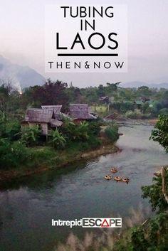 Tubing in Laos - then & now #travel #tubing #laos
