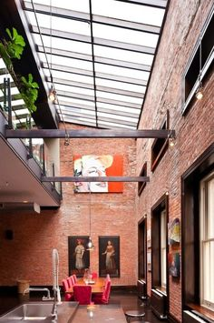 Apartment, Glass Roof House Chrome Pendant Lamp Orang Brick Wall Single Hole Faucet Pink Dining Chairs Brown Wooden Floor Glass Window Bar Sink And Kitchen Island ~ Luxurious Industrial Loft Apartment with Ultra Spacious Interior Industrial Loft, Industrial Interiors, Industrial Apartment, Industrial Furniture, Industrial Decorating, Vintage Industrial, Industrial Industry, Industrial Bookshelf, Industrial Windows