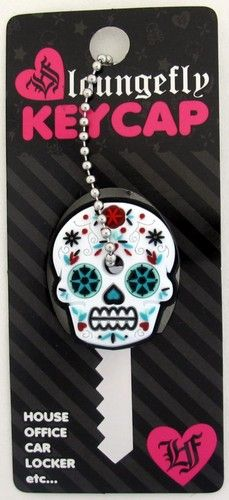 Loungefly White Sugar Skull Key Cap Cover Flowers Rubber Day of the Dead Key Caps, Day Of The Dead, Key Rings, Bling, Nail Art, Sugar Skulls, Car Stuff, Younique, Rebel