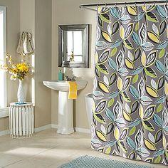 Leaf Dance Shower Curtain in Grey