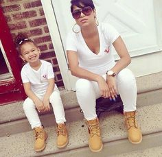 Mother and daughter Timberlands Future Daughter, Daughter Love, Mother Daughters, Mother Son, My Baby Girl, Mom And Baby, Outfits Madre E Hija, Little Girl Fashion, Kids Fashion