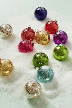 Frosted Panes Ornament Set - contemporary - holiday decorations - Anthropologie
