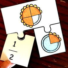 Adding fractions can be confusing for some students. Help them by modeling addition of fractions with these free pie puzzles. Addition Of Fractions, Adding Fractions, School Teacher, Primary School, Upper Elementary, Program Design, Public School, Fun Activities, Puzzles