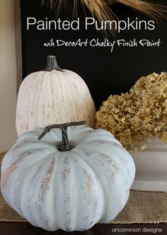 Create simple distressed Painted Pumpkins in 2 easy steps using DecoArt Chalky Finish Paint. A rustic, neutral accent to your fall and Thanksgiving decor. Diy Pumpkin, Pumpkin Crafts, Fall Crafts, Pumpkin Ideas, Pumpkin Decorating, Fall Decorating, Thanksgiving Decorations, Vintage Thanksgiving, Thanksgiving Celebration