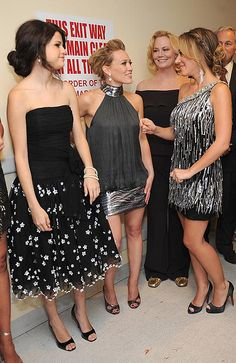 Selena Gomez, Haylie Duff and Hilary Duff backstage at The Beverly Hilton.