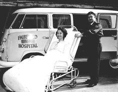 Negative - Red Cross Medical Officer & Female Patient on Trolley with Volkwagen 'Kombi' Van Ambulance, Fairfield Hospital, Victoria, 1962 Volkswagen Bus, Vw T1, Vw Camper, Combi Vw, Wheels On The Bus, Cool Vans, Vintage Vans, Auto Service, Car Humor