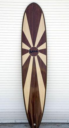 """Kana Surfboards 9'2"""" """"California"""" Wood Veneer Epoxy Longboard Surfboard FCS"""