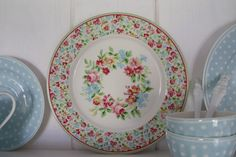 """GreenGate """"Peggy"""" Green and Spot Pale Blue"""