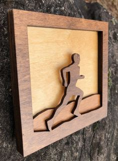 Shadow Box Wood Small Creations Scene Laser Cut / Male Runner / Cross Country / Outdoors / Handcrafted / Jogger / On Stand / Laser Art, 3d Laser, Wooden Wall Art, Wood Art, Wood Shadow Box, Wood Stain Colors, Art Desk, Cnc Projects, Carving Designs