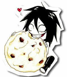 Jeff the Killer, eating, cookie, heart, cute; Creepypasta