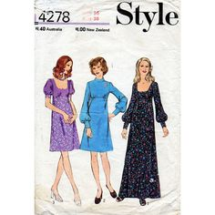 1970s Empire Waist Dress Pattern in Two Lengths by BessieAndMaive