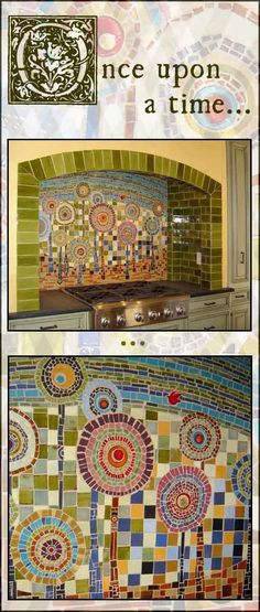 LOVE this mosaic backsplash made by Mercury Mosaics. It was inspired by a German artist called Hundertwasser.This would be such a lovely mosaic on our garden wall!
