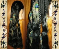 Semi Braided Long Hair Extensions with Peacock Feather trim