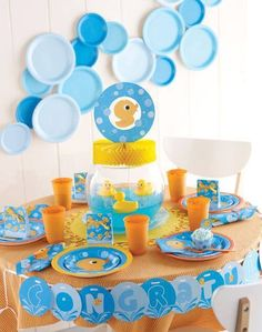 Rubber Ducky Party Supplies showcase an adorable duck splashing on a bright blue background. This baby shower design includes napkins, plates, cups and more. Rubber Ducky Party, Rubber Ducky Baby Shower, Baby Shower Duck, Cute Baby Shower Ideas, Baby Shower Themes, Baby Shower Party Supplies, Baby Shower Favors, Baby Shower Parties, Baby Shower Gifts
