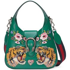 Gucci Dionysus Small Embroidered-Tigers Hobo Bag (€2.895) ❤ liked on Polyvore featuring bags, handbags, shoulder bags, gucci, green multi, zip shoulder bag, green purse, floral handbags and hobo handbags