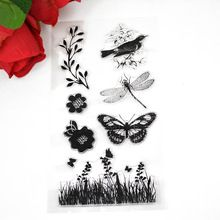 Flower plants Butterfly TPR clear Transparent Stamp DIY Scrapbooking/Card Making/Christmas Decoration Supplies(China (Mainland))