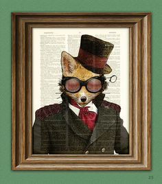 Steampunk Art Print Admiral Fox illustration by collageOrama, $7.99