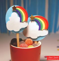 Rainbow Cloud Cupcake Toppers! $11.00 These would be perfect for colorful kids parties! #rainbow #cupcake #treat #dessertbar #kids #party #ideas #art #theme #colorful #cloud #magic #fun #festive #unique #girl #boy #fairytale #spring #summer #beach