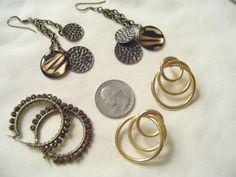 Wonderful, fun vintage earrings, 3 pairs, all for pierced ears!