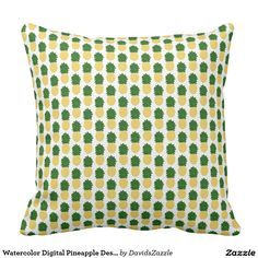 Watercolor Digital Pineapple Design  #watercolor #digital #zazzle #buy #sale #interior #design #home #decor #hip #modern #chic #style #life #lifestyle #yellow #green #fruit #pattern #events #party #dorm #apartment