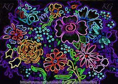 NEON FLOWERS 5x7 Abstract Floral Altered Art by KGrahamStudios on Etsy, $14.00