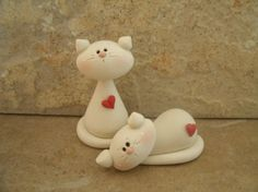 Kitty Pair by countrycupboardclay on Etsy, $10.95...so simple, yet so precious