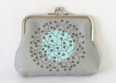 Large Coin Purse 'Tangled' in Grey by LouiseBrainwood on Etsy, £22.00