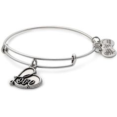 Alex and Ani Love Charm Expandable Wire Bangle ($28) ❤ liked on Polyvore featuring jewelry, bracelets, silver, expandable bangle bracelet, wire bangles, bracelets bangle, wire jewelry and charm bracelet bangle