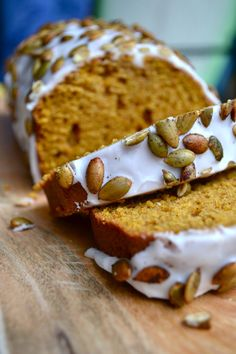 Delicious Iced Pumpkin Loaf with Cinnamon Roasted Pumpkin Seeds.  Such an easy quick bread full of flavor.  Must make this!