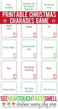 Enjoy family time together this Christmas with a game of Christmas charades! These 66 printable game cards make it super easy to play. Xmas Games, Printable Christmas Games, Christmas Games For Kids, Holiday Games, Christmas Party Games, Christmas Activities, Family Christmas, Christmas Traditions, Holiday Fun