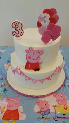 Simple Peppa pig tiered cake See more on www.bakemydaydk.com