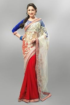 Sarees,Admyrin,Red and White Half and Half Saree With Blue Dupioni Blous...
