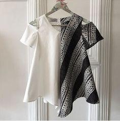 Love this cold shoulder top…. Batik Kebaya, Batik Dress, Kulot Batik, African Wear, African Fashion, Mode Batik, Tulle Skirt Tutorial, How To Make Tutu, Batik Fashion