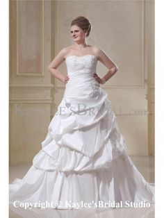 A-Line Chapel Train Taffeta Sweetheart Beading Plus Size Wedding Dresses