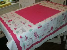 Vintage Table Cloth  Red Center With Vintage by PinkRhinoVintage