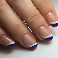 May 2019 - french nails design Short French Nails, Gel French Manicure, French Manicures, Gel Nail, French Nail Designs, Nail Art Designs, Usa Nails, Patriotic Nails, Super Nails