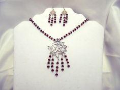 garnet necklace ,garnet necklace set,garnet jewelry,garnet earrings Swarovski crystals,sterling silver