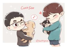 Chansoo 🐶🐶 inspired by Chanyeol's IG update (kind of) it has been a long time since my last time draw this dork otp 😘 Exo Kokobop, Sehun And Luhan, Chanbaek, Kaisoo, Exo Anime, Exo Couple, Exo Fan Art, Bts Chibi, Kpop Fanart