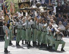 Legión española, unidad de combate y el Cristo en Semana Santa en Málaga.