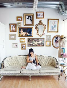 love this idea for the bedroom  22 Swoon-Worthy Salon Walls You Should Probably Pin via Brit + Co.