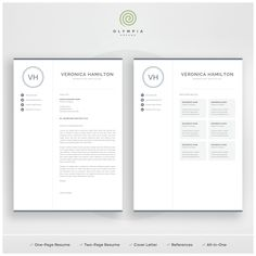 Make your resume, cover letter and references look fantastic and consistent with a modern, creative and professional resume template pack. Creative Cv Template, One Page Resume Template, Modern Resume Template, Resume References, References Page, Professional Cover Letter Template, Cover Letter For Resume, Cv Words, Business Products