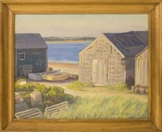 Artwork by Harold C. Dunbar, Fishermen's Houses North Chatham, Cape Cod, Made of Oil on board
