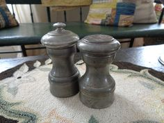 Items similar to Vintage Pewter Salt and Pepper Set, Abercrombie And Fitch Co. Salt and Pepper Mill Set on Etsy Antique Stoneware, Antique Pewter, Salt And Pepper Mills, Wooden Art, Milk Jug, Kitchenware, Farmhouse Decor, Vintage Items, Traditional
