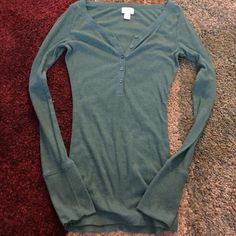 Ribbed Henley Green long sleeve Henley. Excellent condition, only worn a couple times. Very soft material Mossimo Supply Co. Tops Tees - Long Sleeve