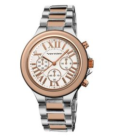 Loving this Silver & Rose Gold Roman Numeral Watch on #zulily! #zulilyfinds