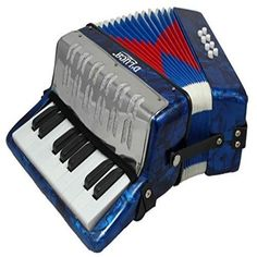 Blue Mother of Pearl Youth Keyboard Accordion 17/8 Notes w/ Low Music Harmonics  #Dluca