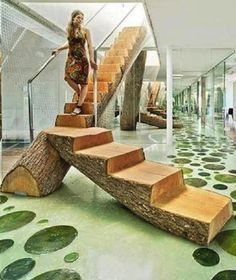 rough hewn wood stairs