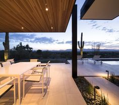 Evening View Terrace  Single Storey Hillside Residence Exhaling Simple Sophistication in Paradise Valley, Arizona
